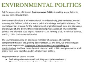 Environmental Politics editor Advert